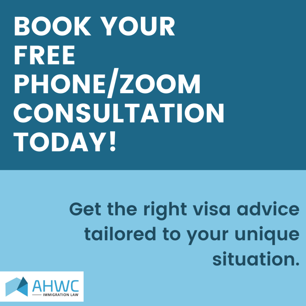 Book your free Visa Consultation with AHWC - Zoom or Telephone